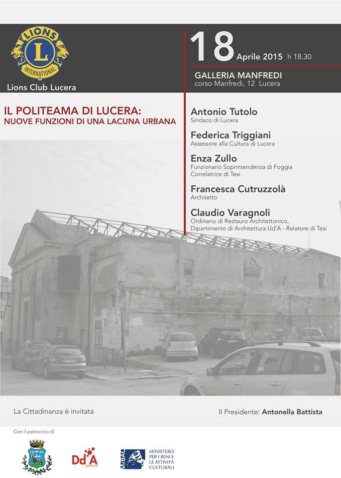 """Il Politeama di Lucera: nuove funzioni di  una lacuna urbana"""
